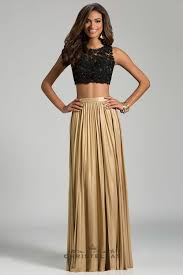 with a glamorous lace crop top and dazzling metallic skirt this
