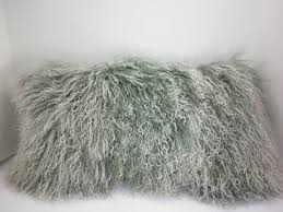Mongolian tibetan Lamb fur Pillow grey 2 tone gray new made