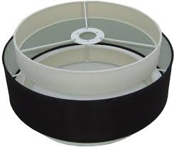 black and white double layer hardback uno fitter drum shade 16 top