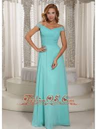 59 Simple Aqua Blue Off The Shoulder Ruched Bodice Customize Mother Of Bride Dress With Beading