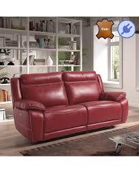 canapé cuir relax canapé relaxation électrique 2 ou 3 places 3 coloris de cuir