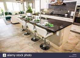 moderne küche mit insel counter bar und hocker
