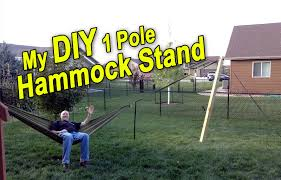 DIY 1 Pole Hammock Stand - YouTube Fniture Indoor Hammock Chair Stand Wooden Diy Tripod Hammocks 40 That You Can Make This Weekend 20 Hangout Ideas For Your Backyard Garden Lovers Club I Dont Have Trees A Hammock And Didnt Want Metal Frame So How To Build Pergola In Under 200 A Durable From Posts 25 Unique Stand Ideas On Pinterest Diy Patio Admirable Homemade To At Relax Your Yard Even Without With Zig Zag Reviews Home Outdoor Decoration