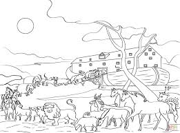 Animals Loading Noahs Ark Coloring Page Within