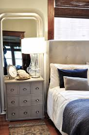 Mirror Behind Side Table Master Bedroom Threshold Target Nightstand Upholstered Bed Navy Gray