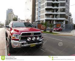 100 Dodge Heavy Duty Trucks Red RAM Pickup Truck In Lima Editorial Photography