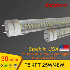 stock in us bright row led t8 led 1200mm 28w smd