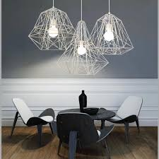 fumat metal cage pendant light nordic industrial style hive white