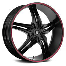 100 Black And Red Truck Rims FIERO NUMBER 15 Wheels Satin With Stripe