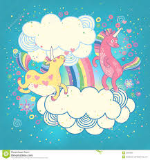 Download Card With A Cute Unicorns Rainbow In The Clouds Stock Vector