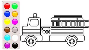 Fire Truck Coloring Pages, Learn Colors For Kids With Car And ...