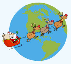 Free Reindeer Clipart Image Santa And His Travel The World By Sleigh Delivering Presents
