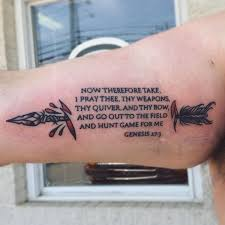 New School Genesis 273 Bible Verse And Arrow Tattoo On Biceps