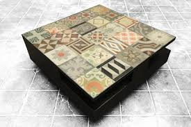 modern coffee table with antique tile top reclaimed tile company