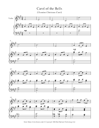 Mannheim Steamroller Halloween Free Download by Carol Of The Bells Sheet Music For Violin 8notes Com Free