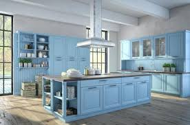 baby blue color country kitchen with wood flooring light painted