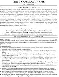 Health Services Manager Resume Sample Template