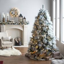 Frosted Christmas Trees Skinny Unique Lit Tree Tall White Uk