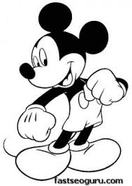 Coloring Page Print Out Mickey Mouse Happy Face
