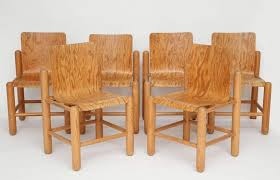 Mid Century Six Wood Chairs With Incredible Detail 1960s 1970s France