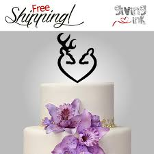 Hunting Wedding Cake Toppers By Givingink Buck And Doe Heart