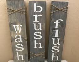 Wash Brush Flush Bathroom Decor Rustic Wall Set Of