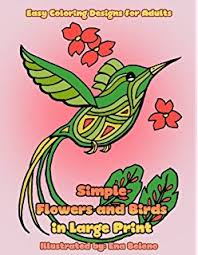 Simple Flowers And Birds In Large Print Hand Drawn Pictures Easy Designs Of