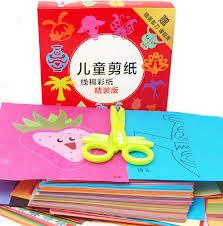 Kindergarten Pupils Childrens Cartoon Handmade Paper Cut Books Origami Security Scissors Day Gift