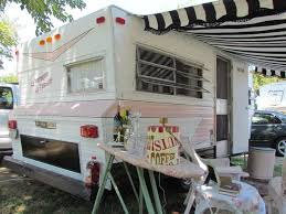 Loving The Black And White Awning With Pink Camper Oh Ironing Board Bar