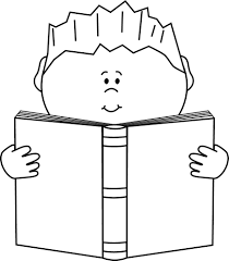 Reading a Book Clip Art Image black and white