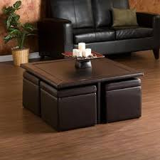 10 s Coffee Table With Nesting Ottomans