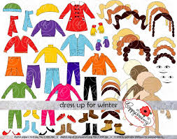 Dress Up For Winter Clothing And Paper Doll Clipart Set