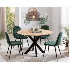 runder eichenholz tisch 4 stühle violcan 5 teilig
