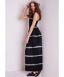 missguided cross back maxi dress black tie dye stripe in black lyst