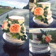 Naked Cake Rustic Fake Flower Roses Tiered Small
