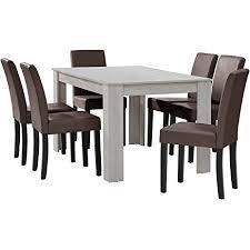 en casa esstisch eiche weiß mit 6 stühlen braun kunstleder gepolstert 140x90 essgruppe esszimmer
