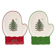 Spode Christmas Tree Mitten Dishes Set Of 2