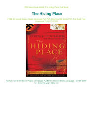 100 The Hiding Place Ebook Free Free Download By Corrie Ten Boom PDF