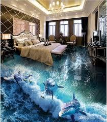 großhandel 3d pvc bodenbelag benutzerdefinierte foto wasserdichte boden wandaufkleber delphin surf ozean welt 3d badezimmer wohnzimmer 3d wandbilder