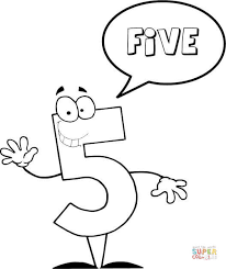 Click The Number 5 Says FIVE Coloring Pages To View Printable Version Or Color It Online Compatible With IPad And Android Tablets
