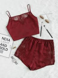 lace insert crop cami and shorts pajama set shein sheinside