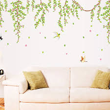 Spring Willow Vines Wall Stickers Home Living Room Cheap Adhesive Decoration Green Tree Leaves Papers