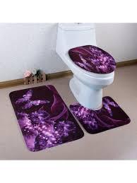 schmetterlings blumenmuster 3 pc toiletten matten bad matte purple