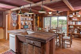Rustic Style Kitchen With Reclaimed Wood Counter Island Floors And Beam Ceiling