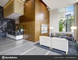 100 Contemporary Wood Paneling Spacious Lobby Area High Ceiling Interior
