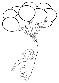 Curious George Playing Baloon Coloring Pages