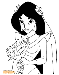 Aladdin And Jasmine Coloring Pages Disney Book For Kid