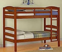 amazon com mainstays twin over twin wood bunk bed walnut