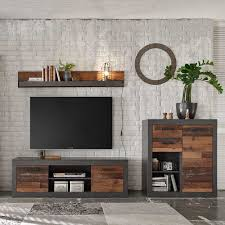 wohnzimmerwand im loft design dunkelgrau und altholz optik 3 teilig