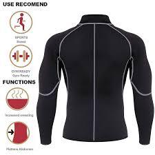 Amazon.com : Men Sweat Neoprene Weight Loss Sauna Suit Workout Shirt ...